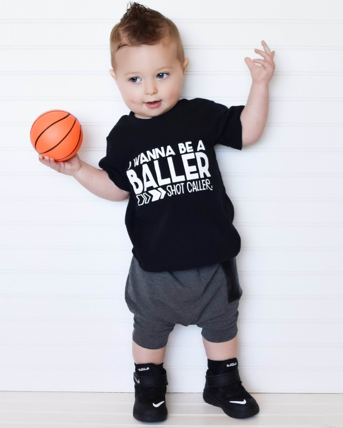 Trendy boy clothes hipster baby clothes wanna be a baller Baby clothing designers
