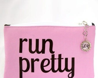 Run Pretty – Pink Zipper Pouch, Running Gifts, Make Up Pouch, Running Bag