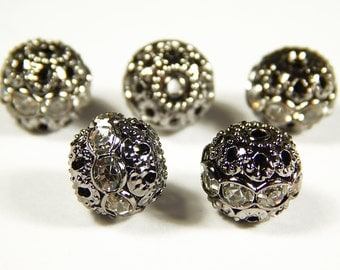 5 Pcs or 10 Pcs - 10mm Czech Crystal Rhinestone Pave Diamante Round Spacer Beads - Gunmetal Pave Beads - Czech Beads - Jewelry Supplies