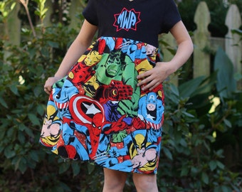 Marvel Super Hero Monogramed T-shirt Girl Dress