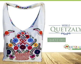 Embroidered bag hand model quetzaly