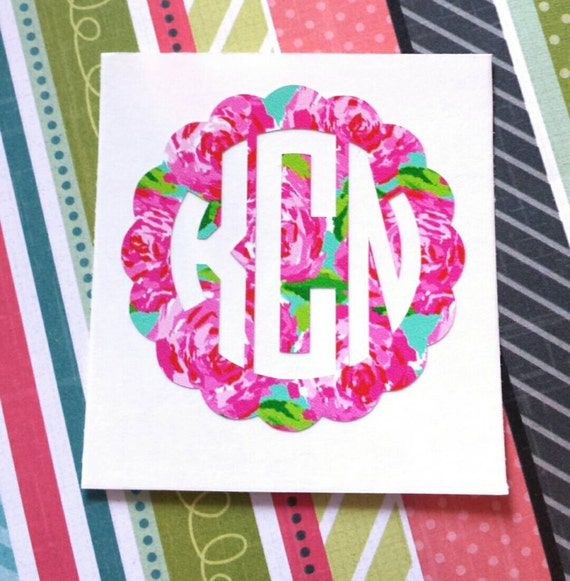 Lilly Pulitzer Monogram Decal, Lilly Pulitzer Decal, Preppy Decal, Preppy Sticker