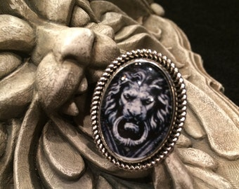 Lion Door Knocker Black and White Antique Silver or Bronze Oval Ring Gothic Vampire Horror Halloween