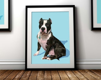 Custom dog portrait. Custom pet portrait. Dog art. Dog print. Custom dog painting. Animal portrait. Personalized pet. Dog illustration