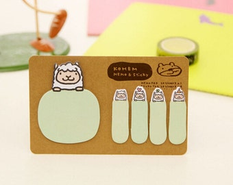 Kohem: Memo & Sticky / Green Sheep / Cute Kawaii Memo Pad and Sticky Notes / Stationery / Stationary / School Supplies / Bookmark Tabs