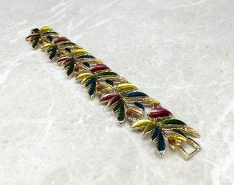 Signed Bracelet, Leaf Bracelet, Autumn Bracelet, Fall Bracelet, Vintage Monet, Monet Bracelet, Designer Bracelet, Designer Monet