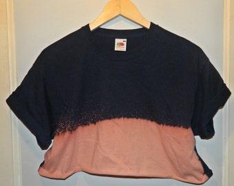 Tie Dye acid wash crop top Cutoff Tshirt hipster festival grunge Retro 90s indie dip dye indie rave skate navy top