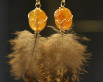 Feather earrings with wire-wrapped quartz