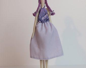 Lavender Girl - Tilda-stlye doll