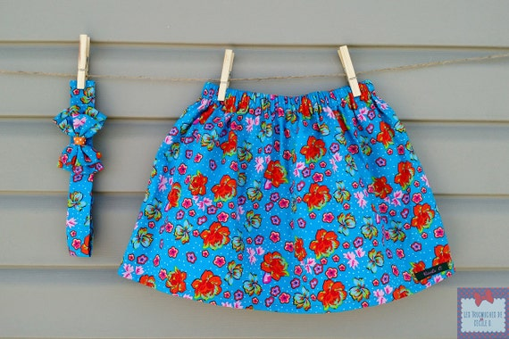 Skirt and headband - all - girl (baby and toddler) turquoise Hawaiian flowers