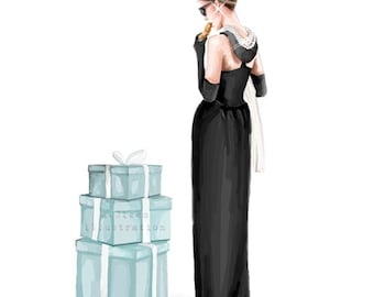 2 different illustrations - Breakfast at Tiffany's - Fashion Illustration - Digital Download