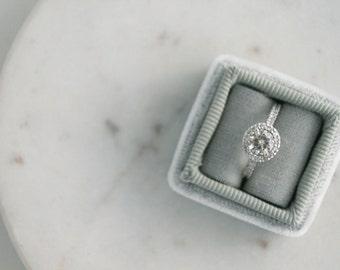Round Halo Diamond Engagement Ring, Moissanite Engagement Ring, Diamond Halo Engagement Ring, Forever Brilliant Moissanite Ring, White Gold