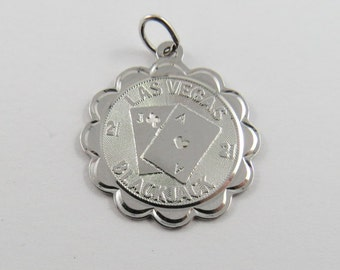 Las Vegas Blackjack Sterling Silver Pendant or Charm.