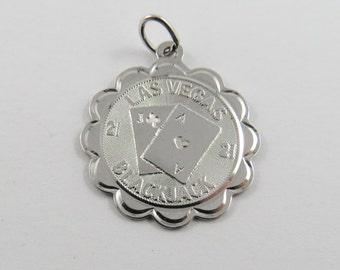 Las Vegas Blackjack Sterling Silver Pendant or Charm.