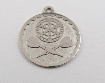 Emblem for Throwing Darts League Sterling Silver Charm of Pendant.
