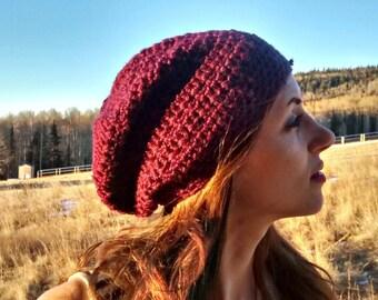 Crochet slouchy beanie in purple