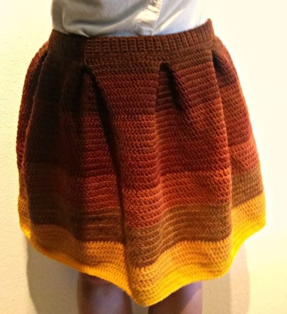 Pleated wool crochet ombre skirt -- made to order