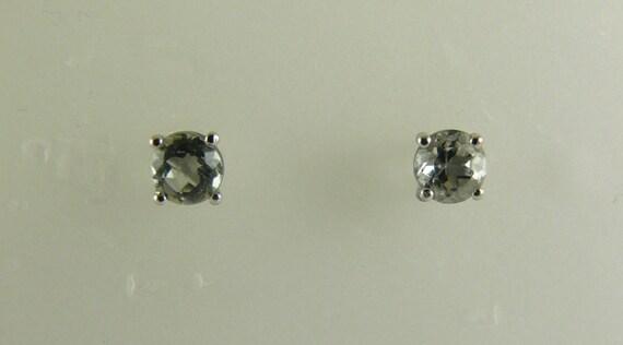 Green 1.01ct Amethyst Stud Earrings 14k White Gold Post & Push Backs