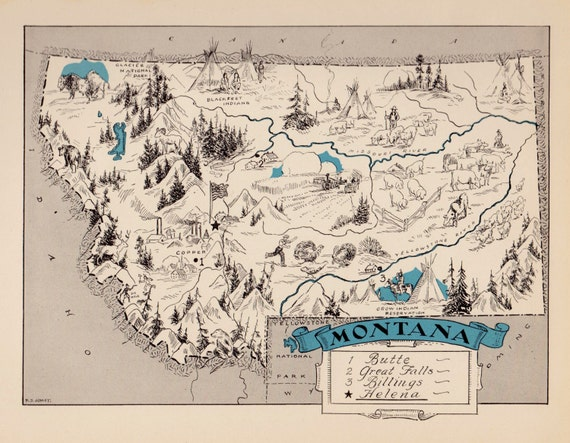 30s Whimsical MONTANA Map of Montana State Map by OnTheWallPrints – Montana Travel Map