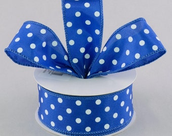 RIBBON - Wired Ribbon - Polka Dots Ribbon - Wreath - Floral Ribbon - Blue Ribbon