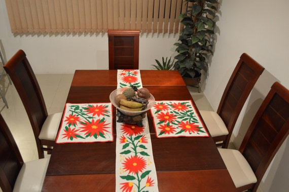 Otomi CHRISTMAS Runner and 2 tablecloths totally handmade