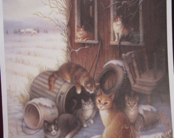 """Purrfect Vintage """"OUR HOME In The SHADOWS"""", 16 x 20 Print Stephanie Faleski Lithograph 4 Framing Stray Cat Kitten Need Rescue Barn 546"""