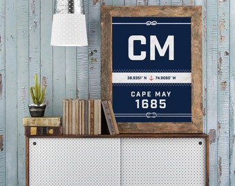 Cape May Print - New Jersey Recycled Sail Style Poster, Nautical Nursery, Beach Décor, Beach House Art, Sailboat, Wife Gift, Vacation Gift