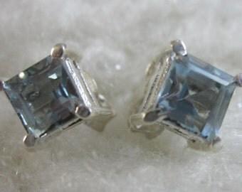 Sparkling Blue Topaz Silver Stud Earrings