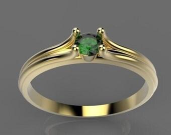 Rose Gold Engagement Ring, 14K Rose Gold Emerald Ring, Natural Emerald Engagement