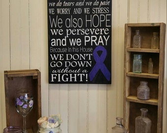In this Houe We Do Cystic Fibrosis. Painted Purple Ribbon Awareness Sign, CF Encouragement Gift, Just Breathe Inspirational Wall Plaque
