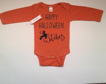 Halloween Bodysuit, Baby Bodysuit, Happy Halloween Witches Bodysuit, baby Halloween outfit, Funny Halloween Shirt, Max and Mae