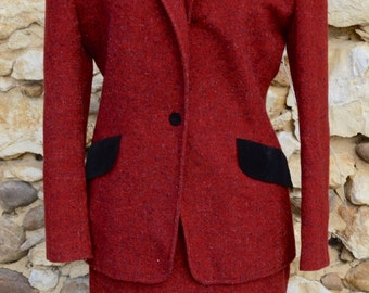 Vintage Red Wool Blazer and Skirt