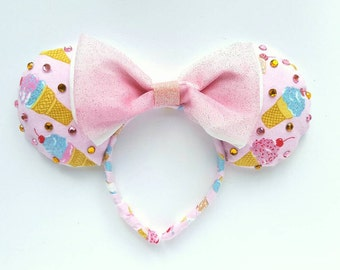 Ice Cream Bedazzle and Sparkle with a Double Bow, Mouse ears!
