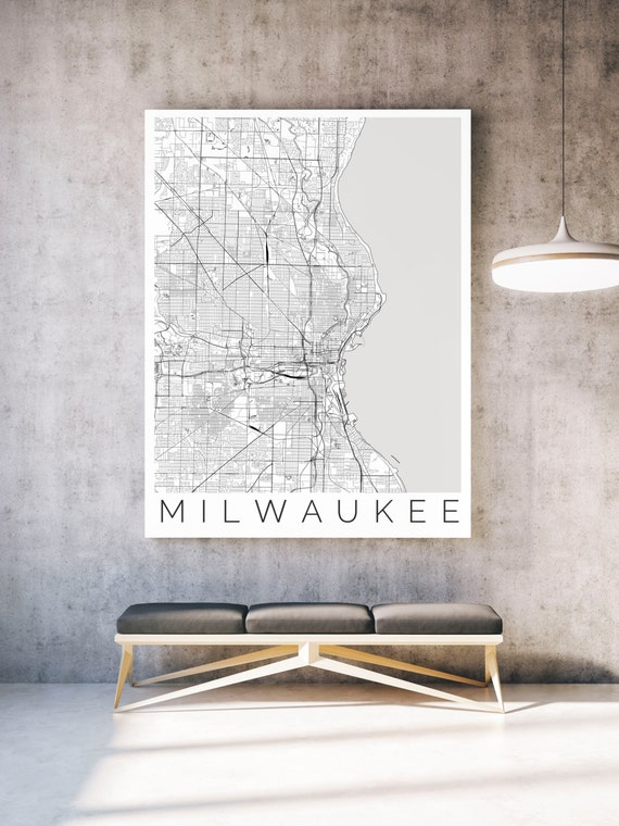 Map of Milwaukee Wisconsin Travel Decor Map ART by theMaptrotter – Wisconsin Travel Map