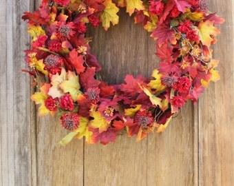 Fall Wreath, Fall Leaf Wreath, Red Leaf Wreath, Autumn Wreath, Fall Floral Wreath, Maple Leaf Wreath, Mum Wreath, Front Door Wreath