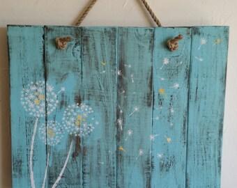 Rustic, handmade dandelion wall hanging