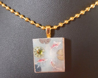 Koi Pond Scrabble Tile with Green Crystal