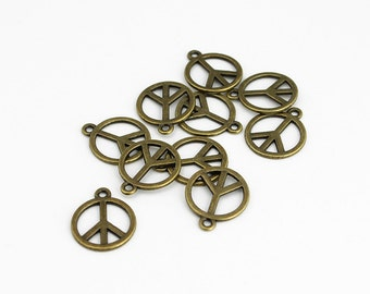 Antique Brass Peace Sign Charms - 10 Pieces