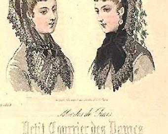 Victorian bonett veil. Chantilly black lace. 1850s