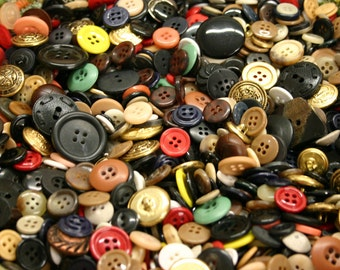 Bulk Buy Buttons of Mixed Colors, Assorted Shapes, Varied Sizes - 50 grams (70-200 buttons)