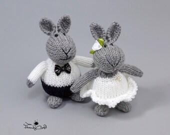 Stuffed bunny couple Unique Wedding gift for couple Plush bunny rabbit Romantic gift Wedding decoration Bride and Groom gift Stuffed animals
