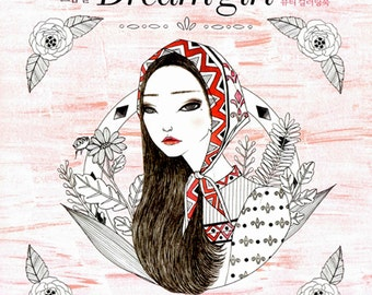 Dream girl : Fashion illustration Coloring Book for adult colouring for womens beauty