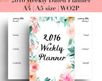 2016 Weekly Planner Dated | Week on 2 Pages | Planner refill | Planner insert | 12 month diary | Agenda | A5 | A4 | Filofax | WO2P| #PPP1