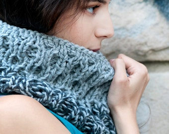 grey scarf, chunky knit, women's neckwarmer, wool cowl, winter accessory, gray snood, urban clothing