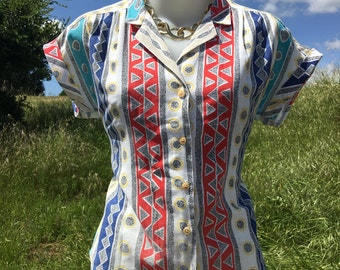 90's Abstract Button-up Blouse!