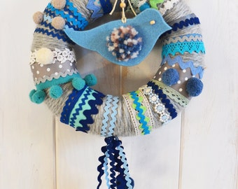 Crown of wool in shades of grey and blue / green & blue wool wreath