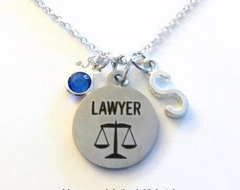 Gift for Lawyer Necklace Law School Jewelry, Justice Scales Judge charm Personalized Custom Initial Birthstone birthday Christmas present