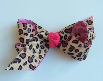 leopard hair accessories, leopard hair bow, leopard hairbow, leopard hairbows, pink hair bow, pink hairbow, baby bow, toddler bow, baby gift