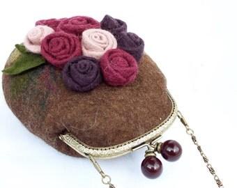"Felted wool bag-Felted wool purse-Felt bag-Felted purse-Felt handbag-OOAK bag ""Bouquet"""