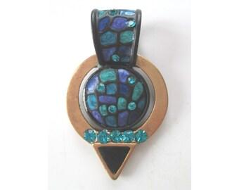CHICO'S Pendant * Brass * Enamel * Rhinestones * Gift For Her